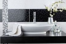 Monochrome Bathroom / Monochrome bathrooms are timeless. They will always be elegant and in-fashion. Monochrome doesn't have to be just black and white. Try using different shades of grey to highlight specific areas.