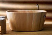 Wooden Bathrooms / Wood is an amazing material as it's eco-friendly, rich-looking, brings coziness and warmth to any space. But can it be used in bathroom design, in a space where there's no wood usually as water spoils it. But with modern waterproof coats everything is possible!  Read more: http://www.digsdigs.com/45-stylish-and-cozy-wooden-bathroom-designs/#ixzz3dJQhS3BL