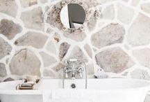 Stone Bathroom / Stone bathroom, stone walls, stone decor,