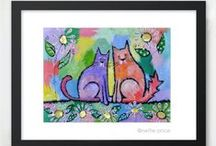 Cats / A reproduction of an original acrylic painting by Nettie Price, each piece is printed on ultra premium photo paper with archival inks, embellished with shimmering glitter and signed by the artist. Handmade in the USA. Click to enlarge the sparkling image. For complete product descriptions, click on Product Details at www.nettieprice.com