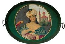 Antique serving trays . / Old serving trays , of 19 th century ,from Greece and Turkey and some others ...