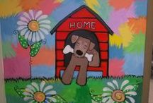 """Animal Rescue League of Berks County / The Animal Rescue League is dedicated to sheltering and  caring for Berks County's homeless animals since 1952. I am so happy for the opportunity to donate a mural in the """"Meet and Greet"""" room and exhibit my artwork throughout the building.  Not to mention, the Sparkling Art Machine!!  So stop by and check it out!"""