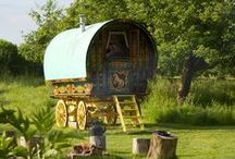 www.gypsycaravanbreaks.co.uk Somewhere to stay / www.gypsycaravanbreaks.co.uk Imagine pretending you live a life on the open road in a gypsy caravan.  Well now you can - sort of.  Cook on an open fire and sleep in a bow top all parked in a beautiful Somerset orchard.