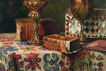 Still Life with Oriental Rugs / Oriental rugs are themselves incredible works of art.  When they are brought into a still life painting, the result is often magic.    Photographic still life falls outside the scope of this board. It includes paintings only.