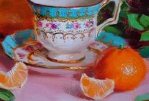 Still Life with Teacups / A natural subject for still life paintings, teacups (really, anything to do with tea), evoke memories of warmth and family.  Many of these paintings also take a contemplative turn, as tea is often enjoyed in a quiet moment.  Photographic still life falls outside the scope of this board. It includes paintings only.