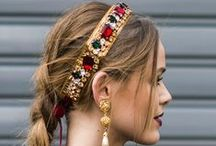 TREND: Romantic / Dolce & Gabanna inspired Italian romanticism with the resurgence of hair broaches, headbands and flowers twisted into the hair.