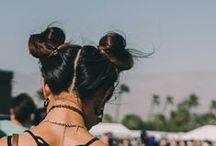 TREND: Space Buns / Double top knots, normally styled with brightly coloured hair and glitter roots
