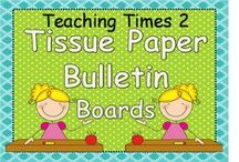 Tissue Paper Bulletin Boards / Bulletin boards developed and constructed by two elementary school teachers- Ms. Misty and Ms. Kristy from teachingtimestwo.blogspot.com -enjoy our creativity throughout the year!!