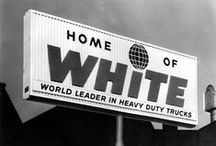 White Trucks / The White Motor Company was an American automobile and truck manufacturer from 1900 until 1980. The company also produced bicycles, roller skates, automatic lathes, and sewing machines. Before World War II, the company was based in Cleveland, Ohio.  -Wikipedia, / by Andrè