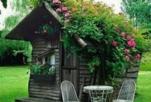 Tiny Spaces / I'm pretty sure I'll never have a tiny house, she shed or tree house but I'd sure have fun decorating it!