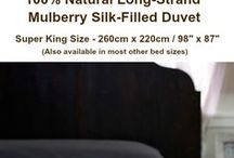 Mulberry Silk Duvets / Mulberry silk-filled duvets. 100% natural and hypo-allergenic. Natural amino acids and the protein sericin contained in the silk help delay skin ageing and nourishes your hair while you sleep. Silk duvets self-regulate your sleeping temperature, promote relaxation of the central nervous system, and are a wonderfully comfortable luxury duvet.