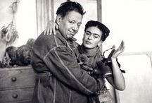 "Photos of Frida & Diego / Frida Kahlo first met Diego Rivera when she was an art student hoping to get advice on her career from the famous Mexican muralist. Although Rivera was married, a courtship ensued. They wed in 1929 (he was 42, she was 22) much to the disapproval of Frida's parents, who referred to the couple as ""the elephant and the dove."" With volatile tempers and countless infidelities, the marriage was notoriously tumultuous."