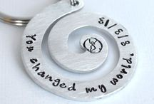Keychains / Hand-stamped key chains.  Great gift ideas.