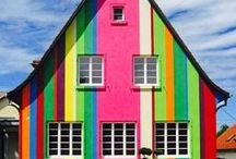 Colorful painted houses & Living wall / by irma