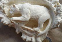 Antler, bone carving
