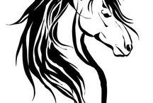 Horse siluets, graphic, tatoo, stencils
