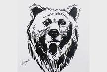 Bear siluets, graphic, tatoo ...