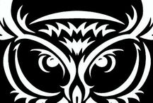 Owl siluets, graphic, tatoo ...