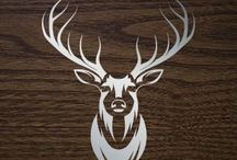 Red Deer siluets, graphic, tatoo ....