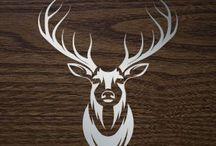 Red Deer siluets, graphic, tatoo ....