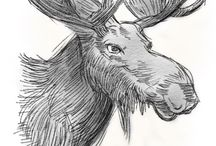 Moose siluets, graphic, tatoo ...