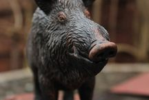 Woodcarving boar