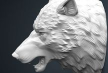 Woodcarving wolf