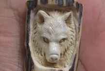 Antler, bone carving wolf