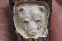 Antler, bone carving bear