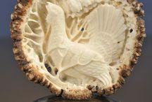 Antler bone carving birds