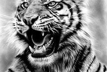 Tiger siluets graphic tatoo ..