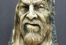 Antler bone carving head