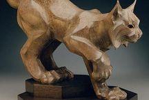 Woodcarving lynx