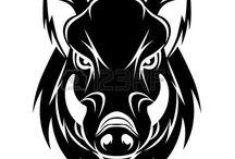Wild Boar siluets, graphic, tatoo ..