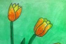 Tulipánok / Festés vízfestékkel.