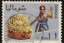 Banana Postage Stamps / Featuring banana-related postage or artist stamps.