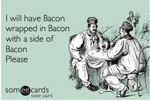 """BACON DELICIOUS-NESS / The CHEW's Michael Simon(aka the baconator"""")  is infatuated with this porky treat and termed the coin """"deliciousness"""" One of my vices, I cannot resist it.  / by Jay"""