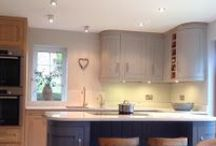 Hand Painted Bespoke Kitchens / Contemporary country kitchens.  Thoughtfully designed with traditional cabinetry and the added twist of contemporary colours and handles