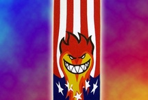 Spitfire on fire / Grip tape art - Spitfire on fire.  I was planning a grip tape art called 'Sk8 Air Force' but the plan was changed completely. The idea was that the skull inside the star, which flies inside the American flag, and the flag is shaped mixed with it. But, as so often suddenly became an entirely new vision.