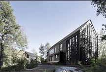 """LesMarais / Alain CarleArchitecte / nowoczesna STODOŁA / Projekt """"Les Marais"""" rozpoczął się z fascynacji do krajobrazów budowlanych na pustych przestrzeniach, które charakteryzują tereny wiejskie Ameryki Północnej,"""