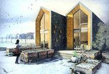 """Heijmans ONE / nowoczesna STODOŁA / Holenderska firma budowlana Hejimans stworzyła gotowy dom prefabrykowany jako tzw. """"starter"""" dla młodych osób pracujących."""