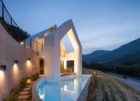 Baomaru House / Rieuldorang Atelier / nowoczesna STODOŁA / Małżeństwo, które było już mocno zmęczone pracą i życiem w mieście, poprosiło o zaprojektowanie domu w otoczeniu przyrody.
