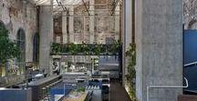 Higher Ground / DesignOffice / nowoczesna STODOŁA / Australijskie studio architektoniczne DesignOffice zamieniło dawną elektrownię w Melbourne w kawiarnię i restaurację, w której nie brakuje zielonej roślinności i odsłoniętej, starej cegły.