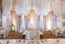 Wedding Drapery / Draped wedding backdrops, head tables, ceilings, entryways and more.
