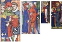 Abiti bi-partiti /Mi-partie 5 / Una serie di iconografie di abiti medievali a due o più colori