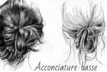 "ACCONCIATURE BASSE / Pettinature basse ""chignon, crocchie, cipolle """