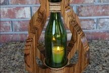 Wood Centerpieces, Wine Lovers Gift, Candlelight Dinner, 5 year Anniversary Gift / We handcraft our wood Centerpieces and each one is a work of art. Our passion is working with hardwoods and our designs are unique and beautiful.  We have removed the bottom of the bottle and then polished the glass edge smooth for Centerpieces finished with a wine bottle globe.