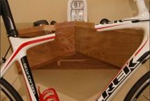 Wood Bike Rack, Bike Storage, Apartment Bicycle Storage, Wooden Bike Hanger / We design and handcraft our wooden bike racks. And, our bicycle racks are custom built to the angle of your top bar. Our bicycle racks are perfect to store your bike and keep your helmet and gear handy and they are also a great way to display your ride.