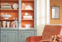 Seaside  coral blue living room