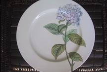 My  Flowers dinnerware /  hand painted (redouté)